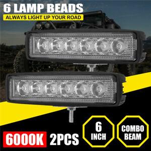 2x 6inch LED Work Lights Bar Spot Flood Combo Fog Lamp Offroad Car Truck SUV