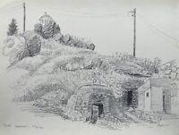 Karl Adser 1912-1995 Zeichnung Hügel mit Kapelle auf Insel Symi Griechenland