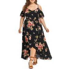 Plus Size Women Short Sleeve Cold Shoulder Flower Print Party Long Maxi Dress