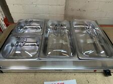 Cooks Professional Food Warmer Buffet Server Hot Plate 4 Tray Section Adjustable
