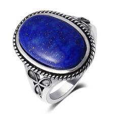 Vintage 925 Silver Classical Design Oval Blue Lapis Lazuli Gemstone Flower Ring!