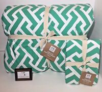 Pottery Barn Twin Comforter + Sham Links A Lot Green Super Pouf  New - Nwt