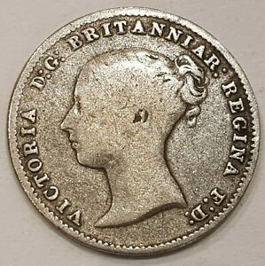 1861 Young Head Victoria Three Pence Silver Coin L1