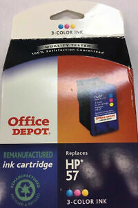 Office Depot 3-Color Tri-Color Remanufactured Ink NIB  611-312 Replaces HP 57