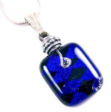 "DICHROIC Fused Glass Small PENDANT Cobalt Blue Black Diamonds Dicro  3/4"" 20mm"