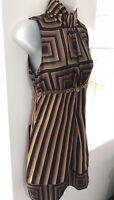 ❤️ Full Circle Vintage Dress SizeXS Black Gold Geometric Y2K Cost £79.99 Inc Tag