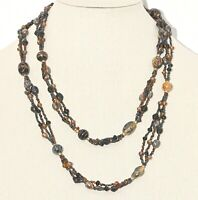 """Vintage Extra Long Glass Beads Multi-color Necklace Estate Jewelry 48"""""""