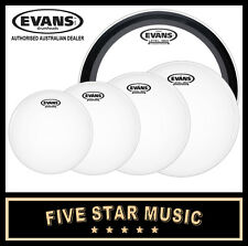 "EVANS G2 COATED 5 PCE DRUM SKIN ROCK EMAD SET 10"" 12"" 14"" 16"" 22"" HEADS NEW"