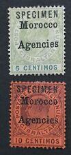 MOMEN: MOROCCO AGENCIES SG #17s-18s 1903-05 SPECIMEN MINT OG H LOT #191590-737