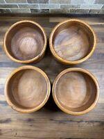 "4 Wooden Bowls ~ 6"" diameter Handcrafted Thailand"