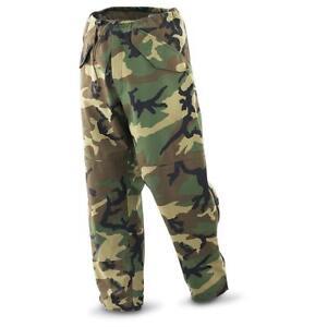 Genuine US Army Woodland Camo ECWCS Waterproof Gortex Goretex Trousers