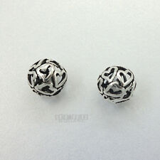 2 PC Antiqued Sterling Silver Hollow Heart Round Bead Spacer 11mm #33079
