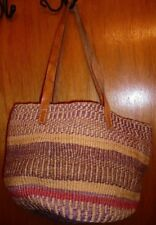 Vintage Woven Hemp Straw Basket Shoulder Bag Satchel Hobo Tote w/ Leather Straps