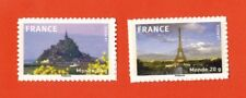 2009-ADHESIF-2TIMBRES NEUFS**MONT.ST.MICHEL-TOUR EIFFEL-SUPPORT BLANC-Yv.334/5a