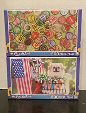 Lot of 2 Puzzlebug 500 Piece Puzzles - Colorful Windows & Vintage Bottle Caps