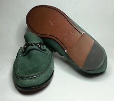 PETER MILLAR men's size 8 green leather snaffle loafers