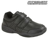 BOYS  Smart Twin Touch Fastening School Shoes - All Black - Size 10 11 12 13 1 2