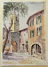 Ancienne peinture à l'eau sur papier, intitulé PROVENCE SEILLANT aquarelle