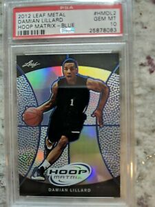 DAMIAN LILLARD 2012 LEAF METAL HOOP MATRIX #HMDL2 ROOKIE PSA 10 PSA POP 2 🔥🏆🏆