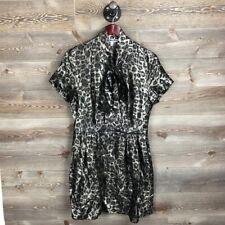 & Other Stories Metallic Bronze Animal Print Silk Tie Mini Dress Size 10