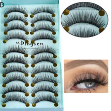 10Pairs Natural Long Cross Lashes Wispy Fluffy 3D Faux Mink Hair False Eyelashes