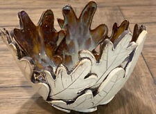 "Pottery Glazed Interior Matte Exterior Arts And Crafts Large Leaf Bowl 6""X7.5"""