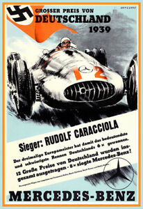 Car Racing Poster Grand Prix Germany 1939 Mercedes Benz Deutschland Poster Print