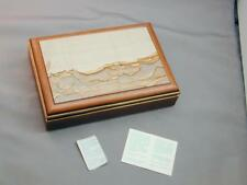 STUNNING Italy Pietra Paesina Stone Picture Jasper & Wood Trinket Box