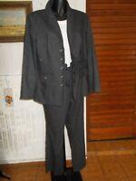 Tailleur chaud Veste blazer et pantalon viscose/laine gris rayé SYM 46fr 18uk