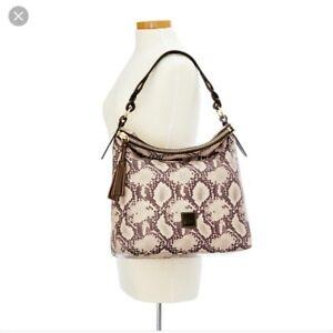 "Dooney & Bourke NWT Women's Black Python Sloan Slouch Hobo Handbag 16""Wx15""Lx6""D"