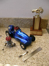 McCOY Tether Car Blue Midget Racer & Operational Red Head 19 Engine FREE Ship 48
