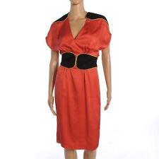 Hoss INTROPIA Dress Coral Pink Silk Black Waist & Shoulders Size UK 14 SW 156