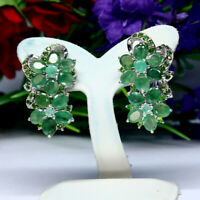 NATURAL GREEN EMERALD & CHROME DIOPSIDE EARRINGS 925 STERLING SILVER