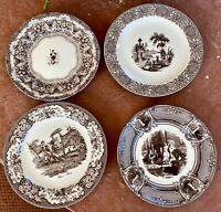 Two's Company Brown Transferware Decorative Wall Plates - SET OF 4