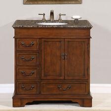 "36"" Single Granite Stone Top Bathroom Vanity Lavatory White Sink Cabinet 212BB"