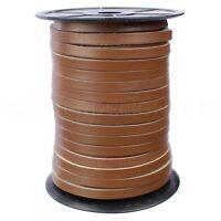 "1/4"" Genuine Leather Flat Cord - Brown - 6mm Cowhide Strap - 10 25 125 Feet"