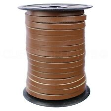 "1/4"" Genuine Leather Flat Cord - Brown - 6mm Cowhide Strap - 10 25 125 Feet"