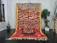 "Handmade Boujaad Moroccan Vintage Rug 5'6""x8'7"" Dotted Red Berber Wool Carpet"