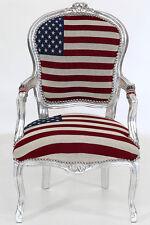 BAROCK STUHL silbern ARMLEHNSTUHL mit STERNENBANNER ♥-LOVE USA SESSEL mit FLAGGE