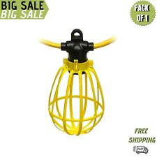 100 Foot Outdoor Yellow Commercial Contractor-Grade Plastic Cage String Light.