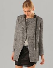 NEW Maje Circus Grey Combo Tweed Asymmetrical Leather Trim Coat Jacket 40