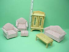 """Miniature Living Room Set (6pc) 1/2"""" (1/24) Scale  Town Square #T0248"""