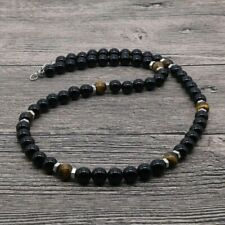 """Mens Tigers Eye & Black Onyx 8mm Natural Bead Beaded Necklace Silver Spacers 22"""""""