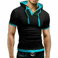 Men's Slim Fit Short Sleeve Shirts Hooded Tee Muscle Hoodies T-shirt Tops