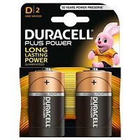 NEW! Duracell Plus Power Alkaline Pack Of 2 D Batteries