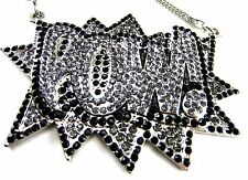 "NEW Iced Out POW Pendant & 36"" Silver Franco Chain Hip Hop Chris Brown Batman"