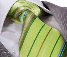 LIME GREEN STRIPE SILK TIE - ITALIAN DESIGNER Milano Exclusive