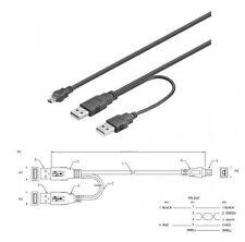 USB 2.0 POWER ADAPTER Y-KABEL MINI-B STROM FÜR HDD 1m