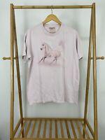 VTG The Mountain Pink Beautiful Horse Running Short Sleeve T-Shirt Size M
