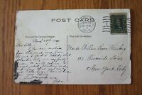 1909 Boardwalk Atlantic City NJ Postcard 1 Cent Benjamin Franklin Green Stamp